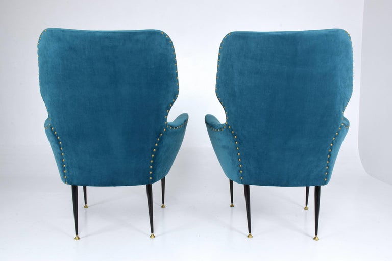 Pair of Italian Mid-Century Vintage Armchairs, 1950s For Sale 2