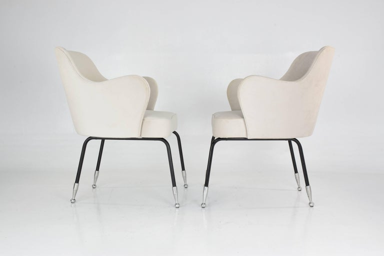 Lacquered Italian Vintage Mid-Century Armchairs, Set of Two, 1950's  For Sale
