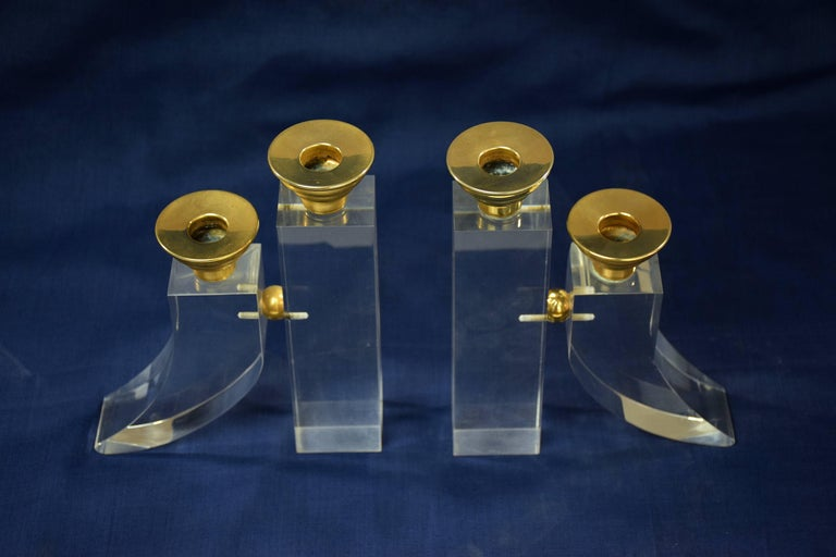 Brass French Pair of Vintage Plexiglass Candlesticks or Bookends, 1970s For Sale