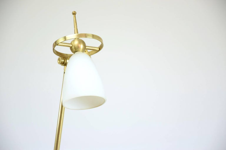 Polished French Geometrical Brass Lamp, 1980s For Sale