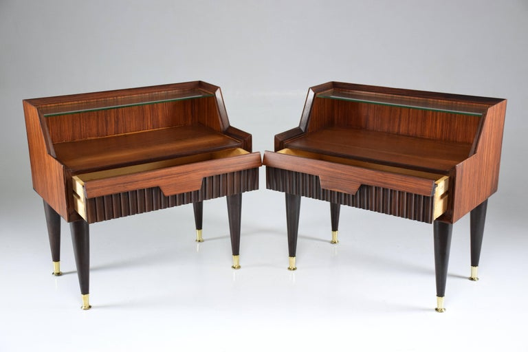 20th Century Pair of Italian Midcentury Nightstands In the Manner of Gio Ponti, 1950-1960  For Sale