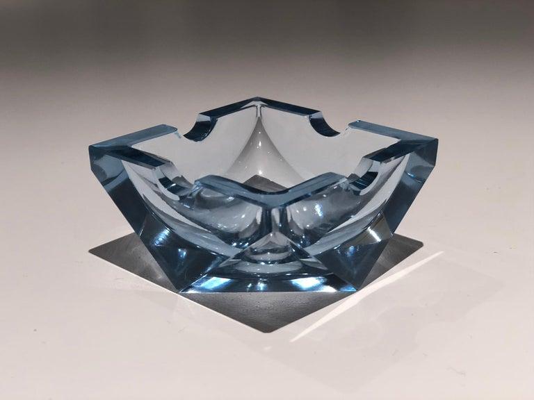 Czech 20th Century Vintage Art Deco Glass Ashtray, 1930-1940  For Sale