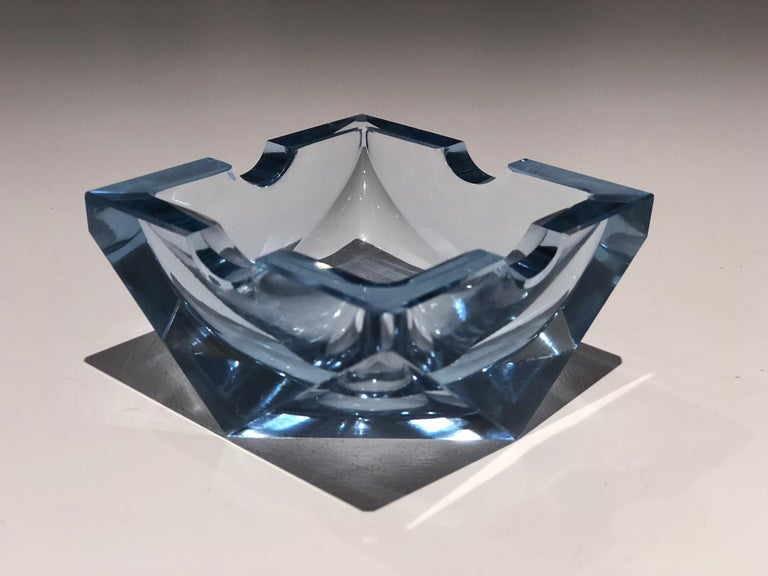 Crystal 20th Century Vintage Art Deco Glass Ashtray, 1930-1940  For Sale