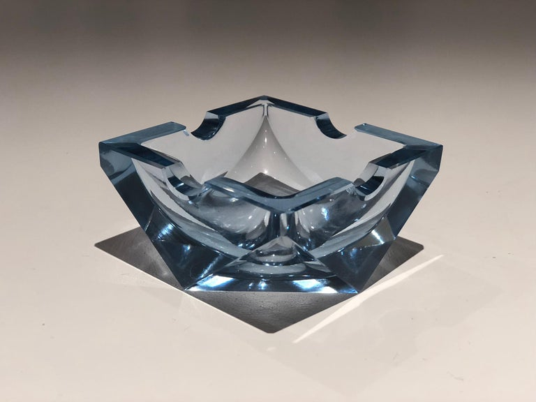 20th century vintage ashtray or decorative piece in beautiful light blue coloured faceted glass typical of 1930-1940 Art Deco period.  Attributed to Czech glassmaker Heinrich Hoffmann.   Great condition considering age.