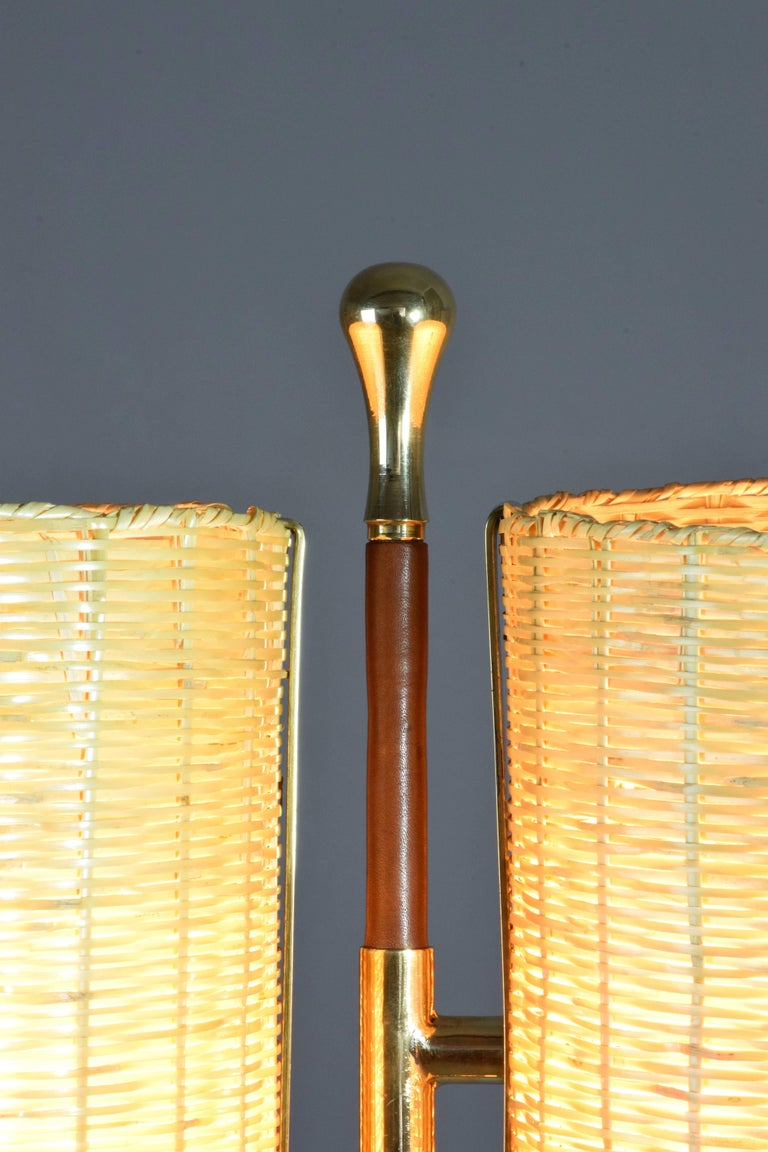 Equilibrium-II MIV Contemporary Adjustable Rattan Floor Lamp, Flow Collection In Excellent Condition For Sale In Paris, FR