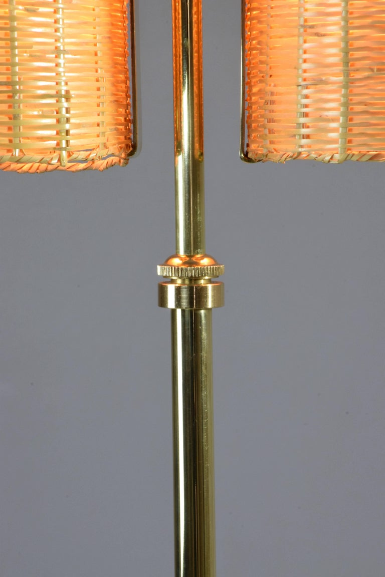 Modern Equilibrium-II MIV Contemporary Adjustable Rattan Floor Lamp, Flow Collection For Sale