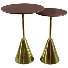 Pair of Stone-R Contemporary Handcrafted Side Tables, Flow Collection