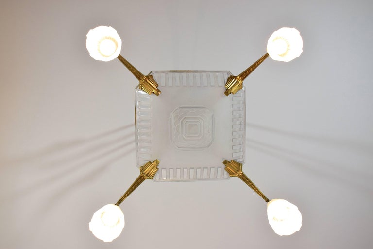 French 1930's Art Deco Bronze Chandelier by Muller Frères, France