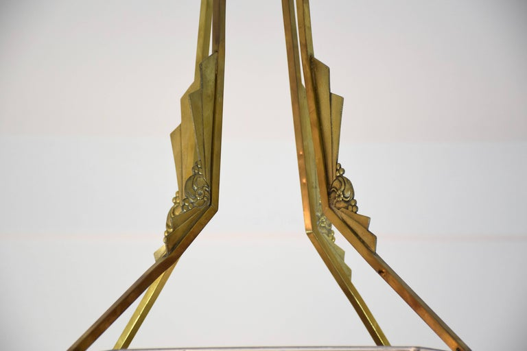 20th Century 1930's Art Deco Bronze Chandelier by Muller Frères, France