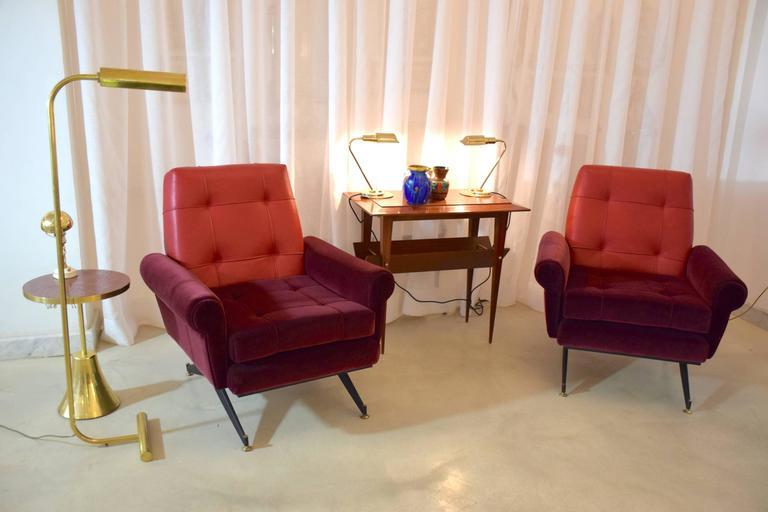 Mid-Century Modern Pair of Italian Vintage Midcentury Velvet Leather Armchairs, 1950s For Sale