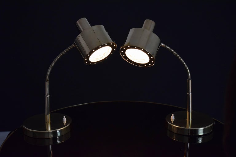 Polished Italian Mid-Century Table Lamps in the Manner of Max Ingrand, 1960's  For Sale