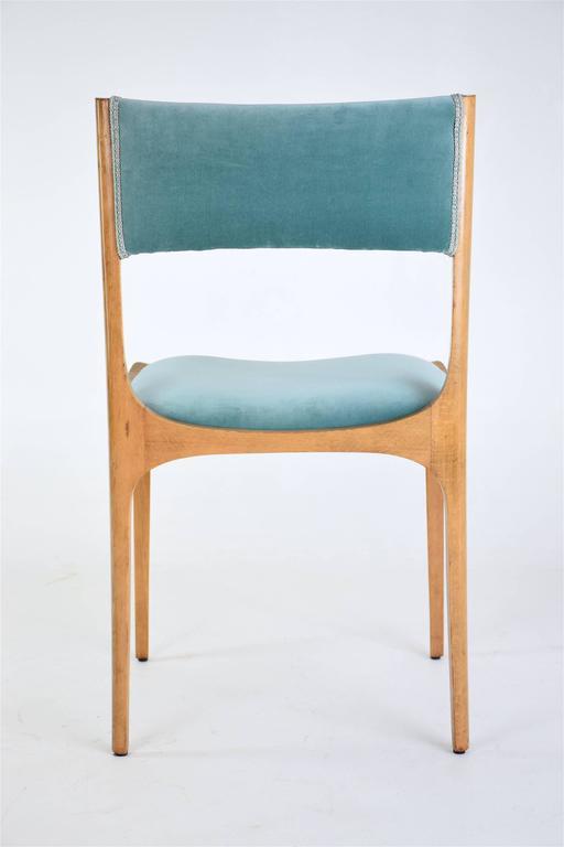 Velvet Mid-Century Giuseppe Gibelli Dining Chairs, Set of Six