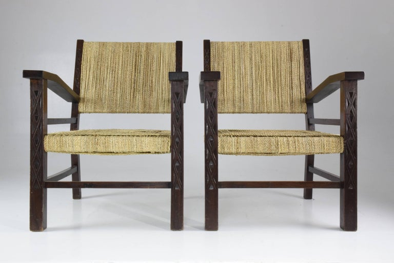 Varnished French Pair of Art Deco Armchairs by Francis Jourdain, 1930's  For Sale