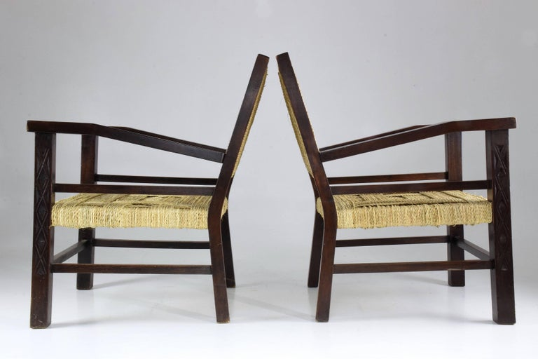 French Pair of Art Deco Armchairs by Francis Jourdain, 1930's  In Good Condition For Sale In Paris, FR