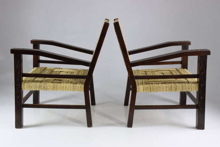 Rope French Pair of Art Deco Armchairs by Francis Jourdain, 1930's  For Sale