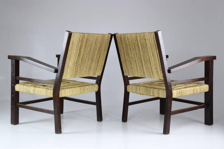 20th Century French Pair of Art Deco Armchairs by Francis Jourdain, 1930's  For Sale