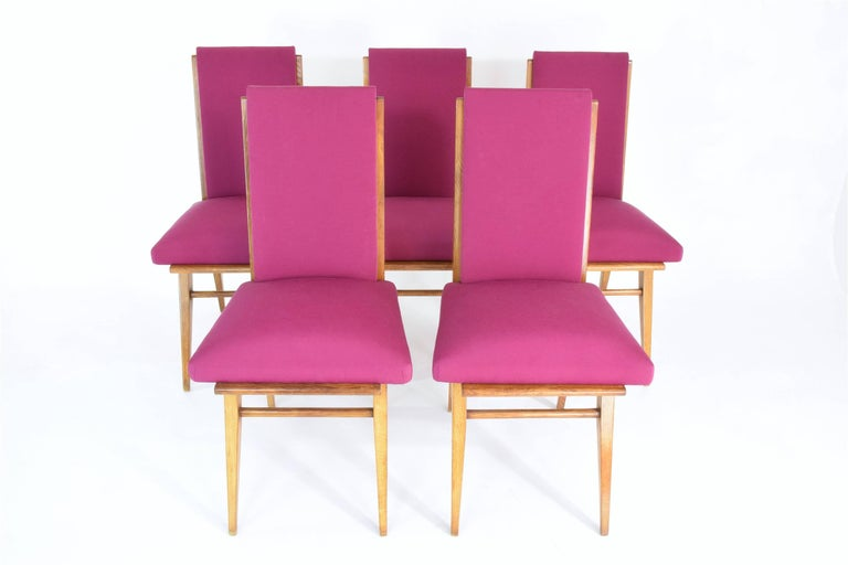 French Art Deco Dining Chairs, Set of Five, 1940s In Excellent Condition For Sale In Paris, FR