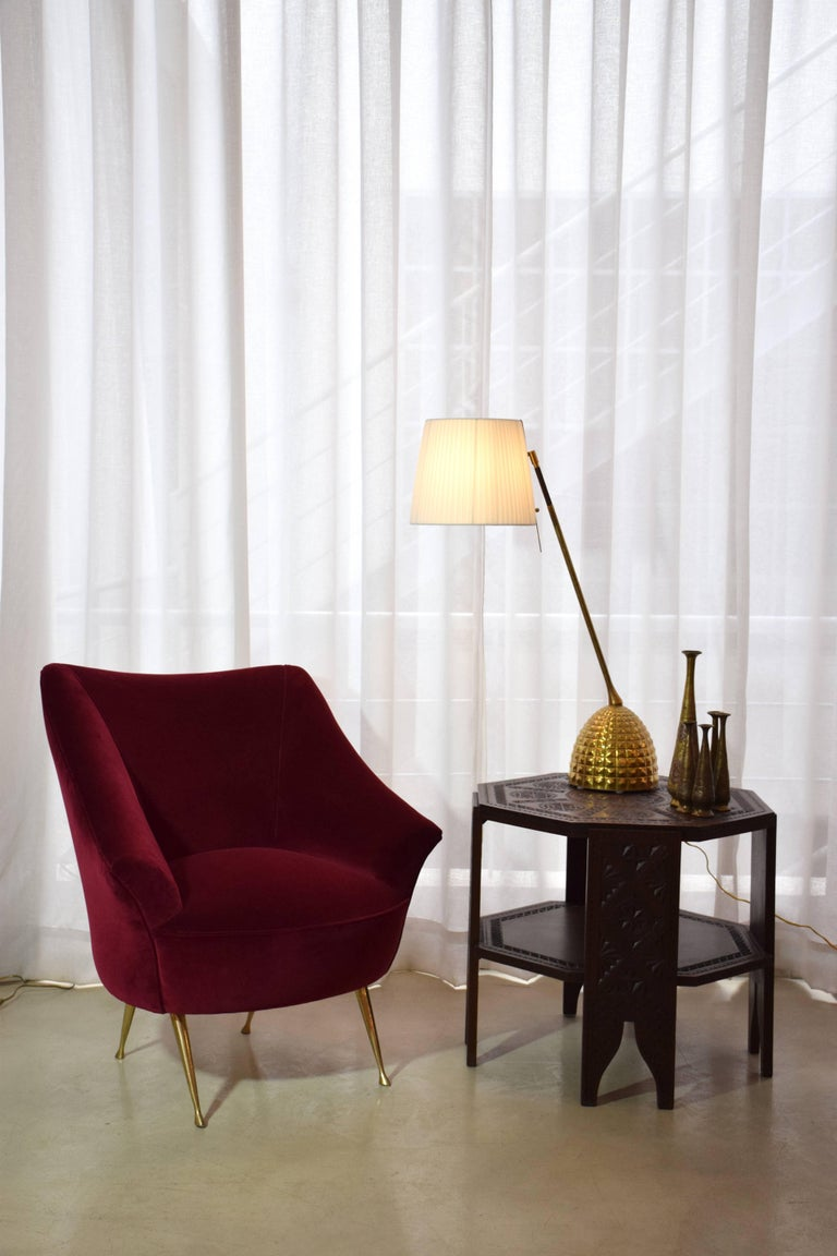 Polished Italian Mid-Century Velvet Armchair, 1950s For Sale