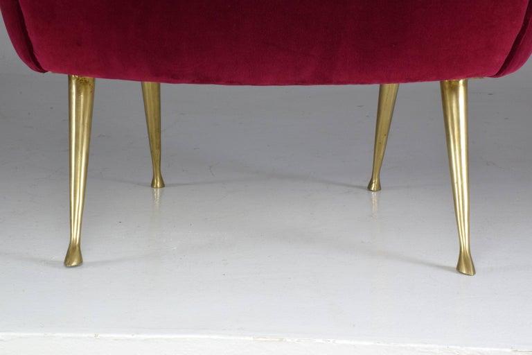 Italian Mid-Century Velvet Armchair, 1950s For Sale 5