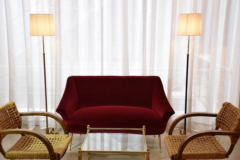 Italian Mid-Century Velvet Armchair, 1950s For Sale 12