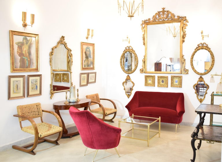Italian Mid-Century Velvet Armchair, 1950s For Sale 1