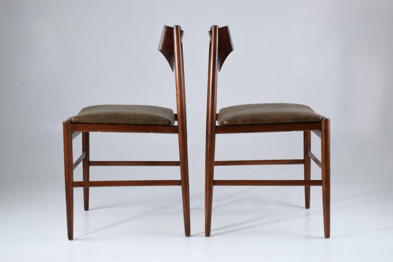 Leather  Italian Mid-Century Dining Chairs by Gianfranco Frattini, Set of 5, 1960s  For Sale