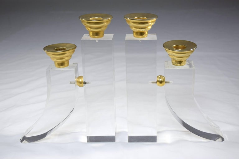Hollywood Regency French Pair of Vintage Plexiglass Candlesticks or Bookends, 1970s For Sale