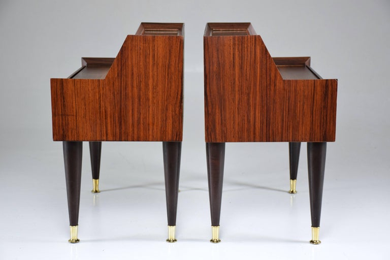 Brass Pair of Italian Midcentury Nightstands In the Manner of Gio Ponti, 1950-1960  For Sale