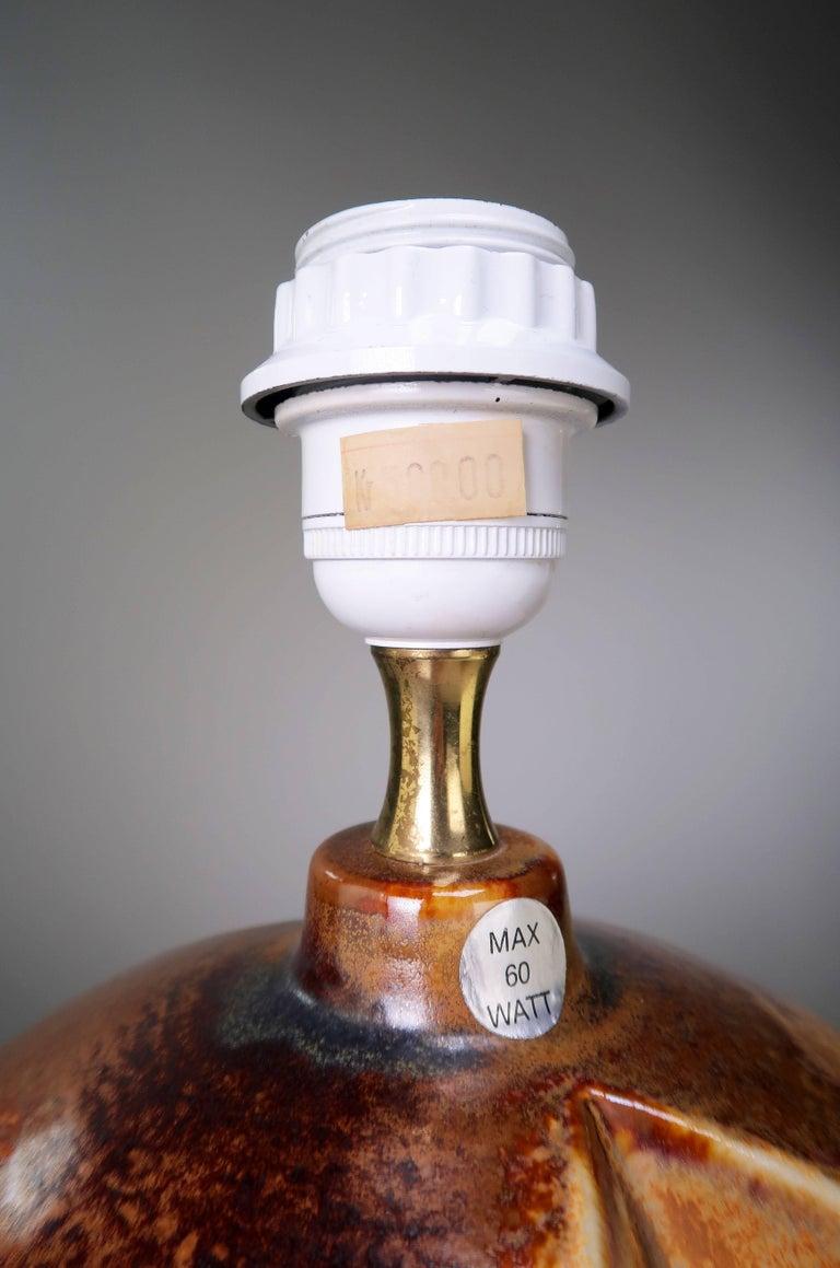 Stoneware Haico Nitzsche for Soholm Pottery Danish Modern Chestnut Table Lamp, 1970s For Sale