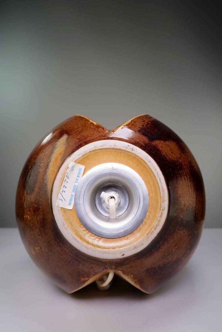 Haico Nitzsche for Soholm Pottery Danish Modern Chestnut Table Lamp, 1970s For Sale 1