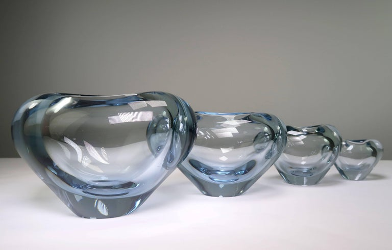 Mid-20th Century Set of Holmegaard Danish Modern Heart Shaped Light Blue Art Glass Vases, 1961 For Sale