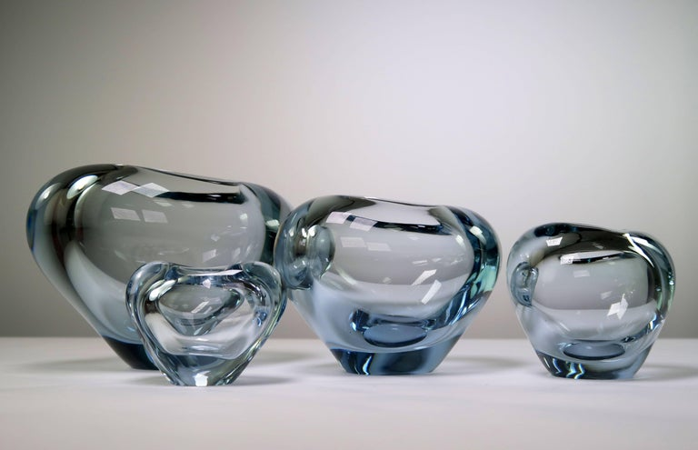Set of Holmegaard Danish Modern Heart Shaped Light Blue Art Glass Vases, 1961 In Good Condition For Sale In Copenhagen, DK