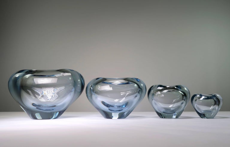 Set of Holmegaard Danish Modern Heart Shaped Light Blue Art Glass Vases, 1961 For Sale 2