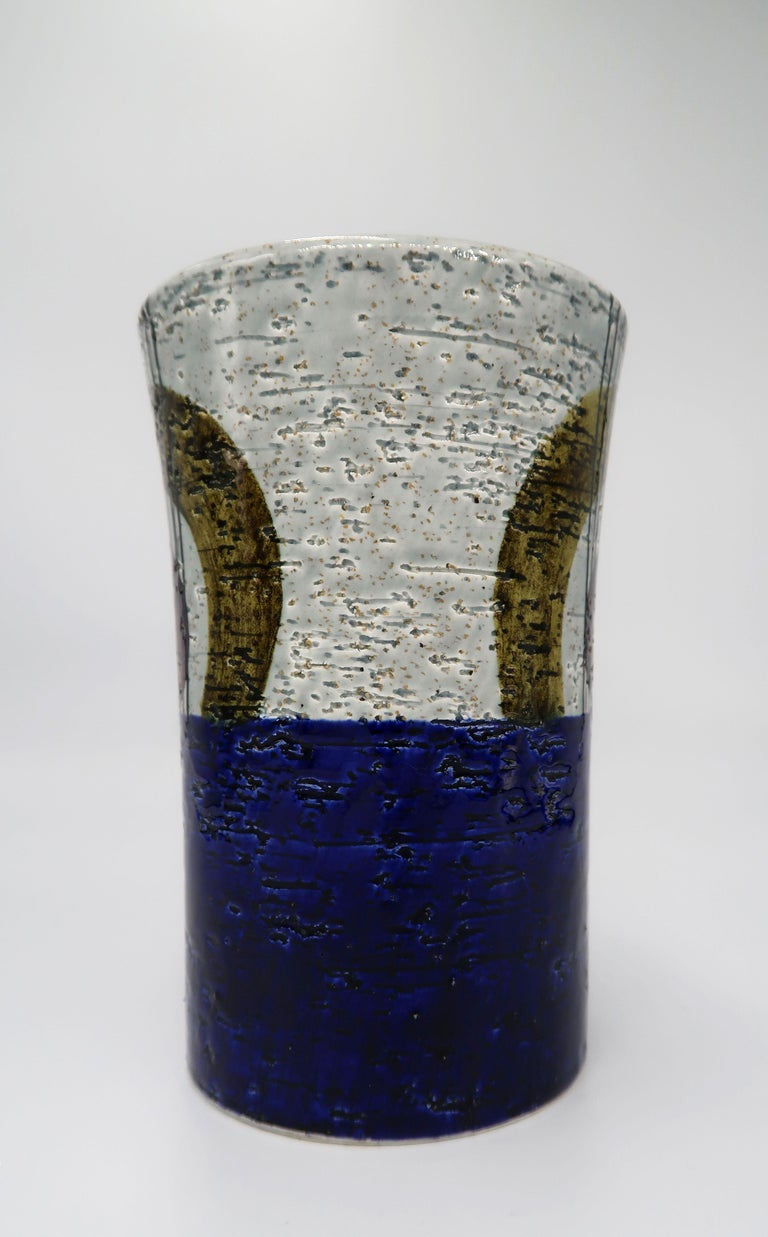 Swedish Vintage Rörstrand Ceramic Blue, Grey Vase by Olle Alberius, 1960s In Good Condition For Sale In Frederiksberg, DK
