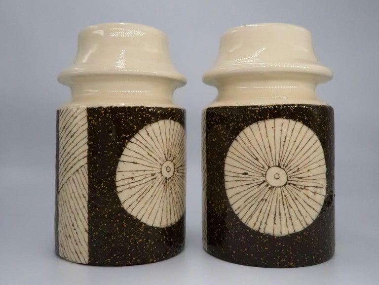 Extraordinary and rare pair of Swedish Mid-Century Modern handmade and hand decorated ceramic vases with semi-crackle glaze. By acclaimed Estonian-Swedish designer Mari Simmulson (1911-2000) who designed for Upsala Ekeby from 1949-1972. Model 1102M.
