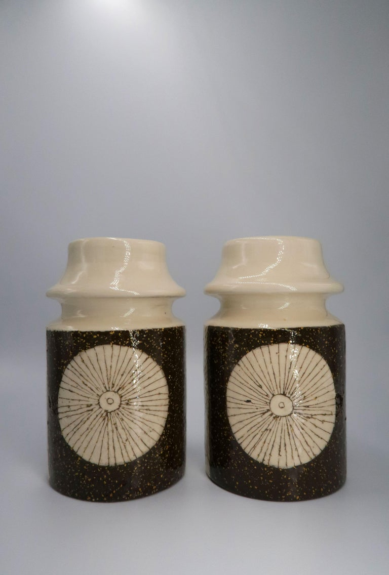 Mid-Century Modern Rare Set of Swedish Mid-Century Upsala-Ekeby Ceramic Cream, Brown Vases, 1960s For Sale