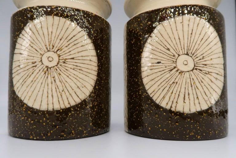 Rare Set of Swedish Mid-Century Upsala-Ekeby Ceramic Cream, Brown Vases, 1960s In Good Condition For Sale In Frederiksberg, DK