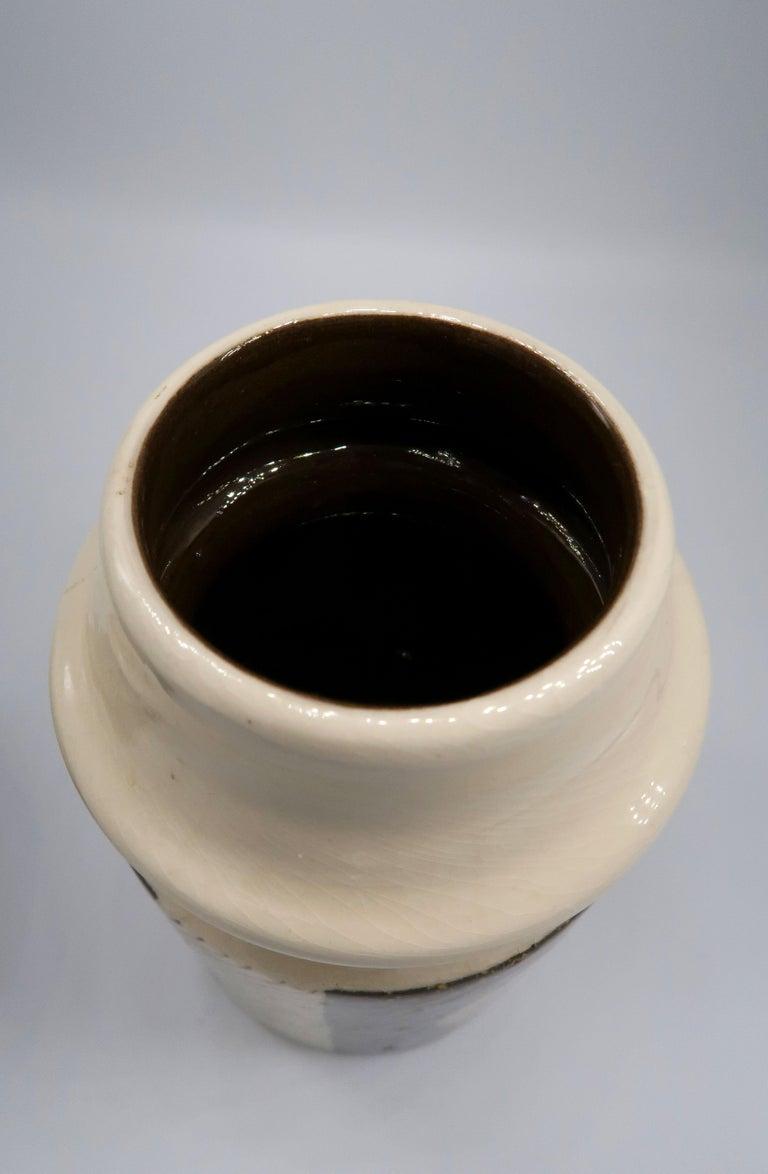 Rare Set of Swedish Mid-Century Upsala-Ekeby Ceramic Cream, Brown Vases, 1960s For Sale 2