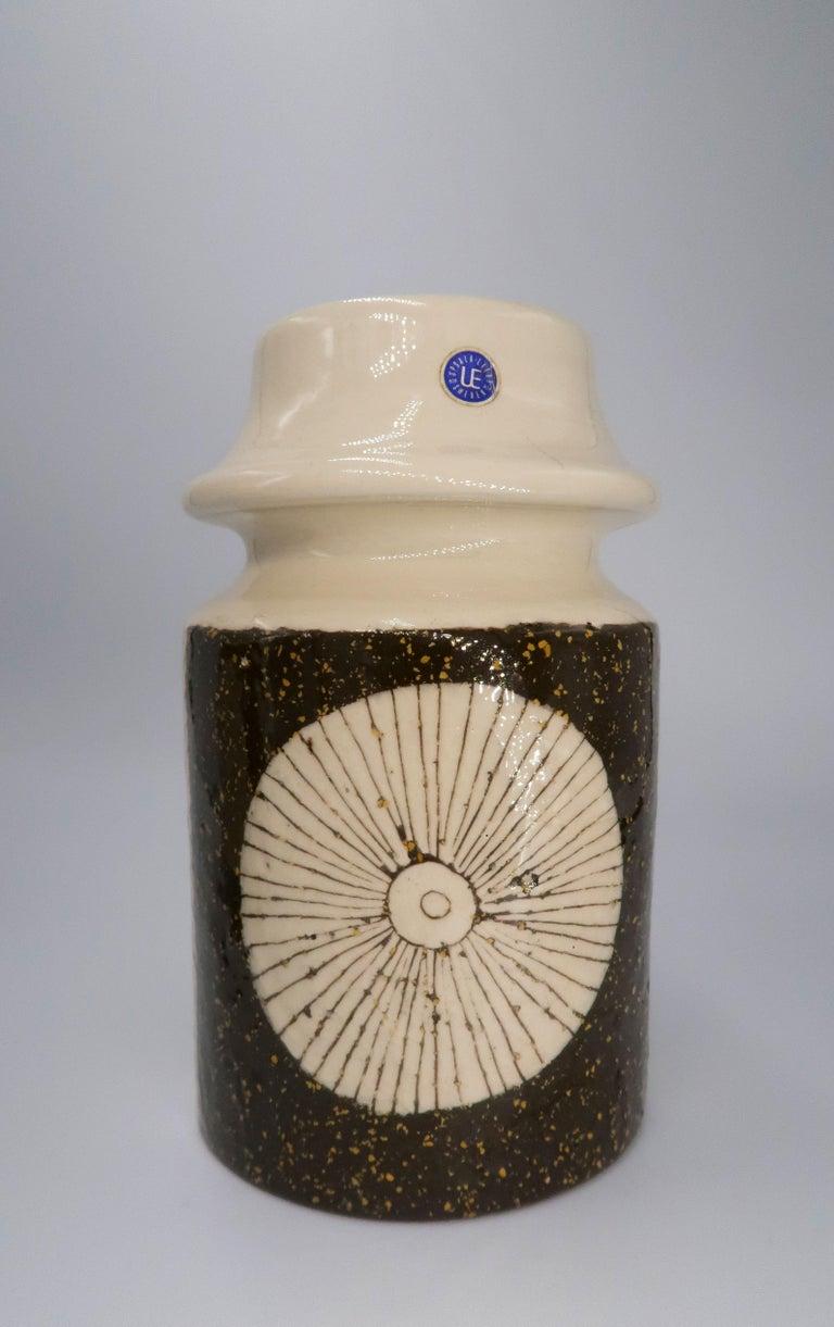 Glazed Rare Set of Swedish Mid-Century Upsala-Ekeby Ceramic Cream, Brown Vases, 1960s For Sale