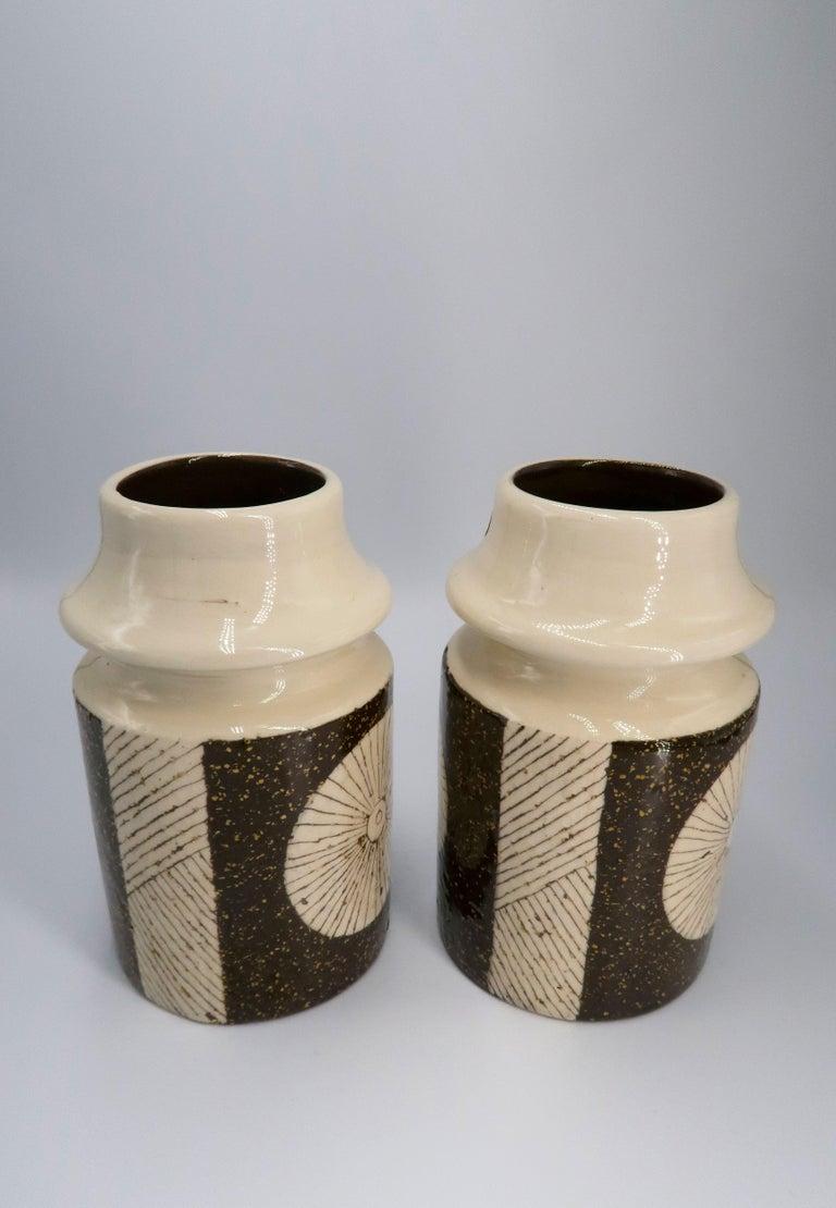 Rare Set of Swedish Mid-Century Upsala-Ekeby Ceramic Cream, Brown Vases, 1960s For Sale 1