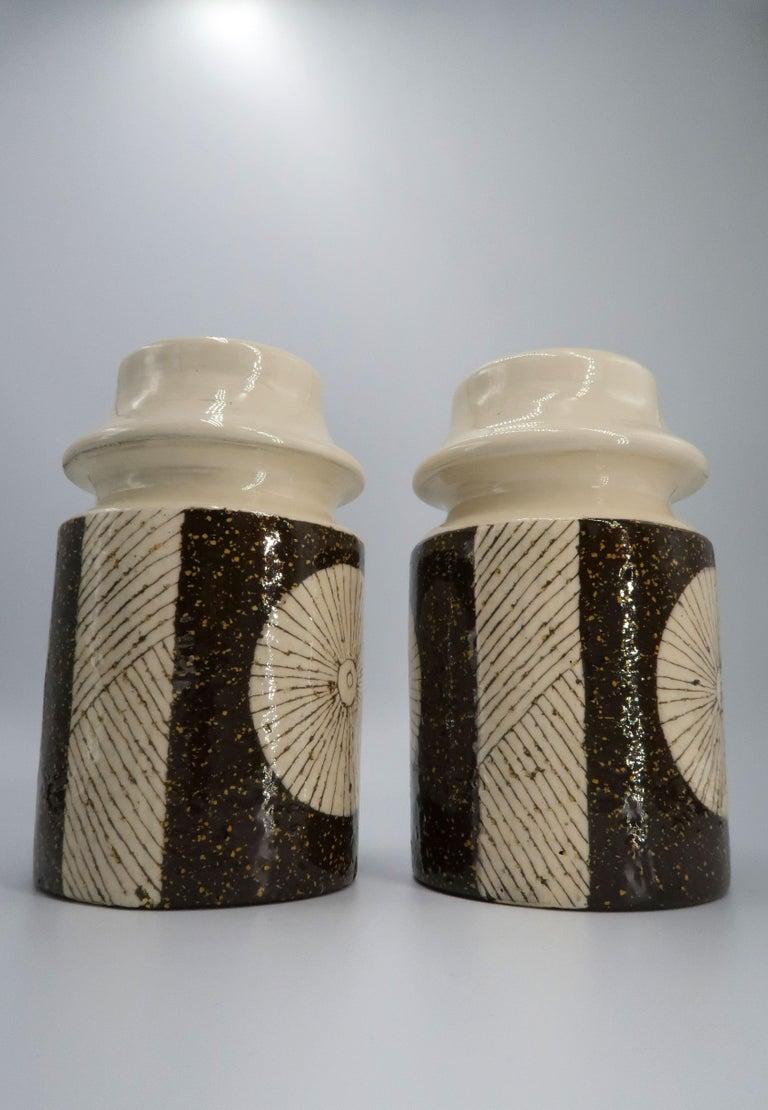 Mid-20th Century Rare Set of Swedish Mid-Century Upsala-Ekeby Ceramic Cream, Brown Vases, 1960s For Sale
