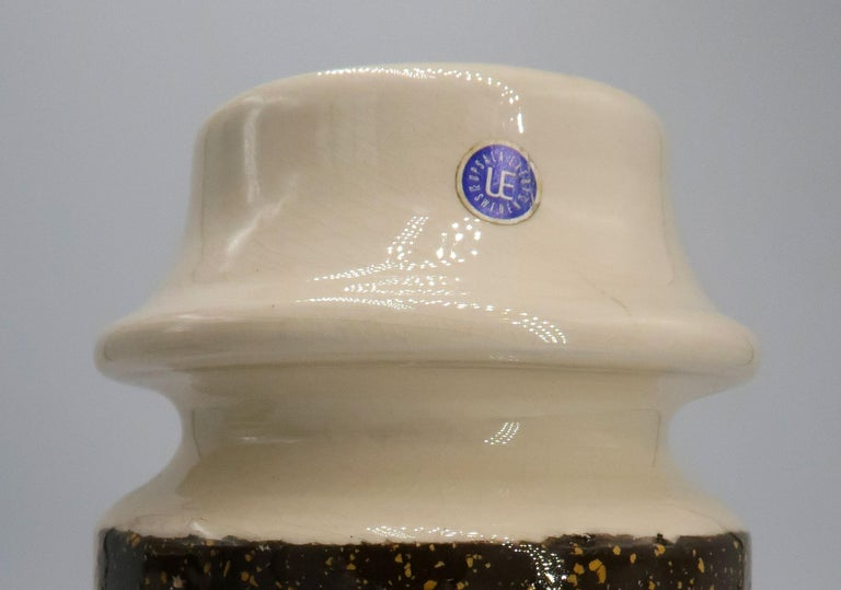 Rare Set of Swedish Mid-Century Upsala-Ekeby Ceramic Cream, Brown Vases, 1960s For Sale 3