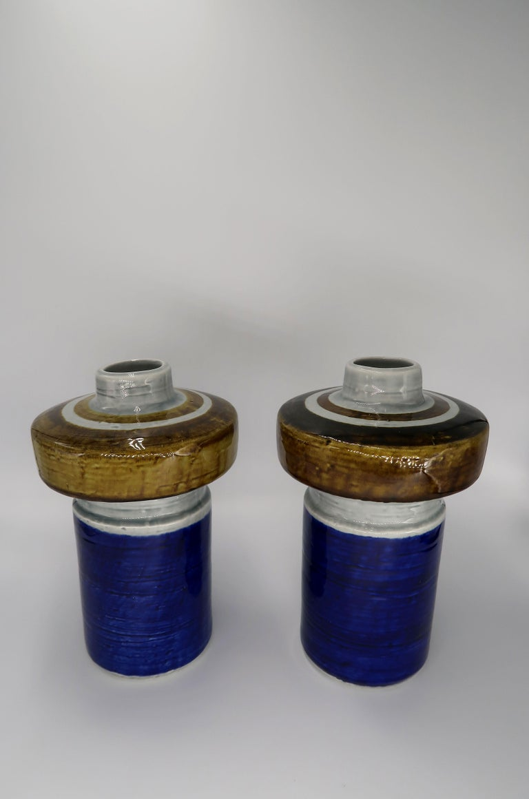 Swedish Pair of Olle Alberius for Rörstrand Hand-Painted Titus Ceramic Vases, 1960s For Sale