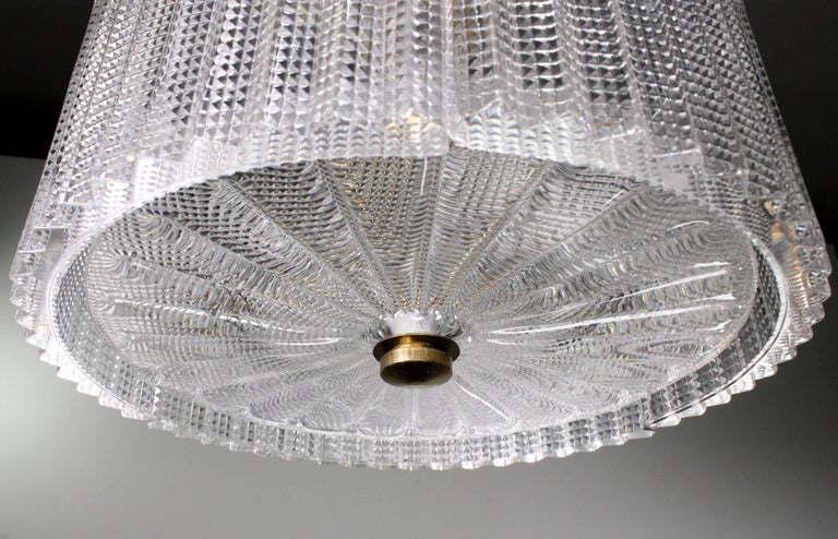 Swedish Carl Fagerlund for Orrefors Mid Century Circular Glass Panel Pendant, 1960s For Sale