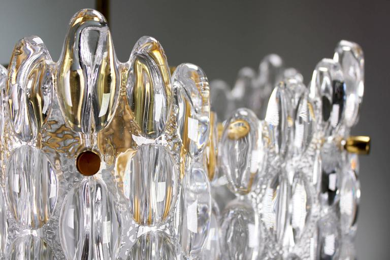 Swedish Large Carl Fagerlund for Orrefors Mid Century Clear Crystal Chandeliers, 1950s For Sale