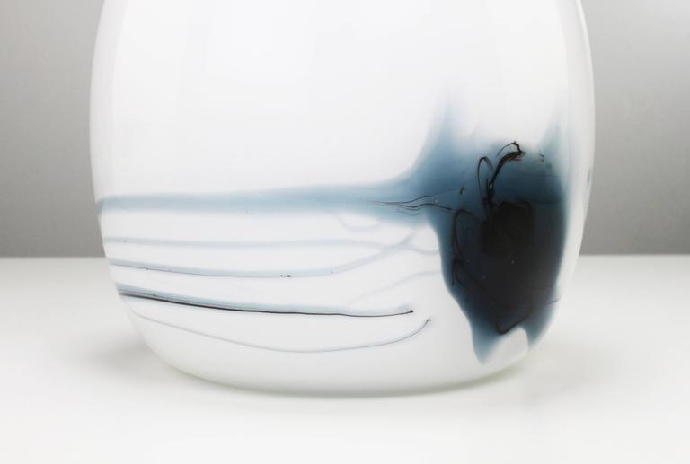 Danish Michael Bang for Holmegaard White, Black and Blue Art Glass Atlantis Vase, 1980s For Sale