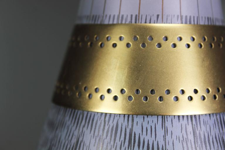 Italian Stilnovo Black and White Glass Pendant with Brass Belly, 1960s 1