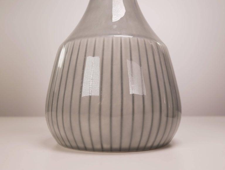 Scandinavian Modern Gunnar Nylund for Rorstrand Swedish Modern Gray Striped Vases, 1950s For Sale