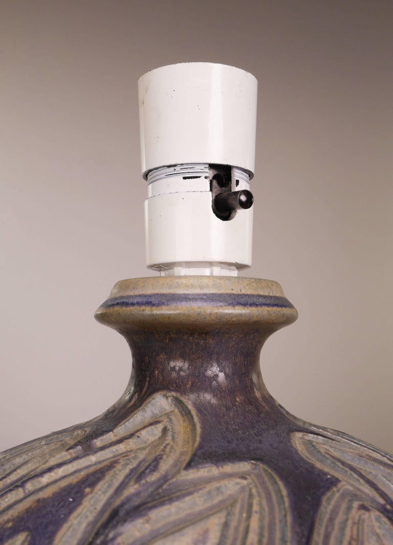 Mid-20th Century Lovemose Danish Modern Handmade Ceramic Organic Earth Colored Table Lamp, 1950s For Sale