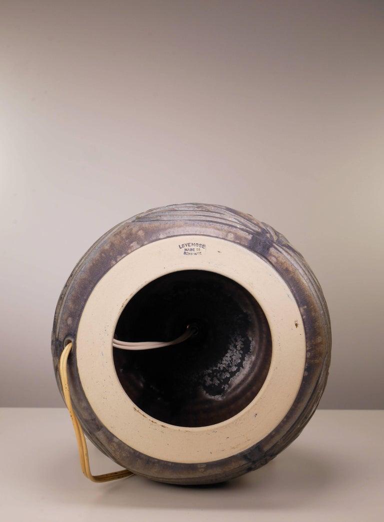 Stoneware Lovemose Danish Modern Handmade Ceramic Organic Earth Colored Table Lamp, 1950s For Sale